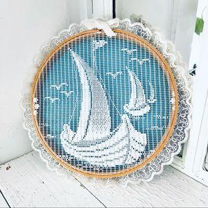 "Vintage Lace Sailboat Ocean Cross-stitch Hoop 11"""